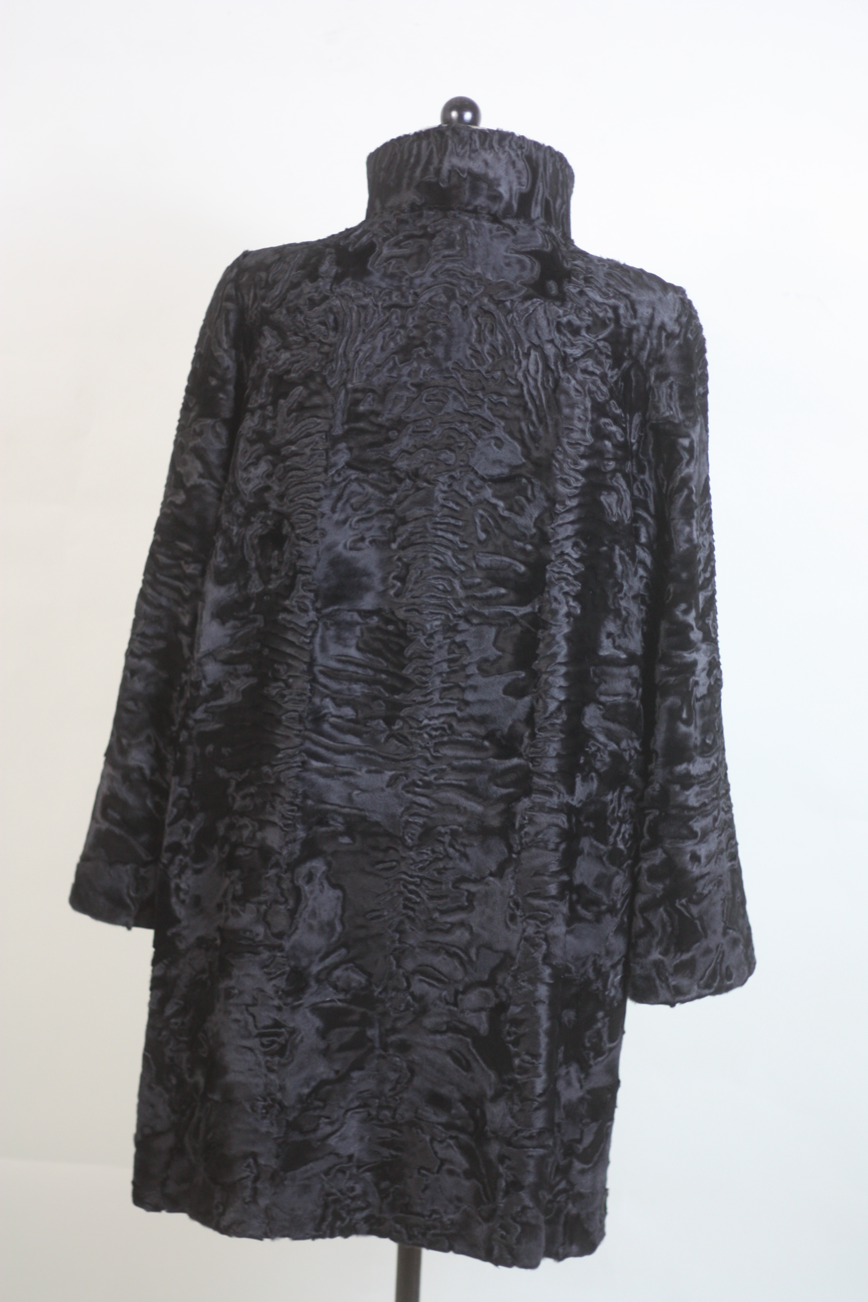 black swakara lamb fur coat rear view 3/4 length