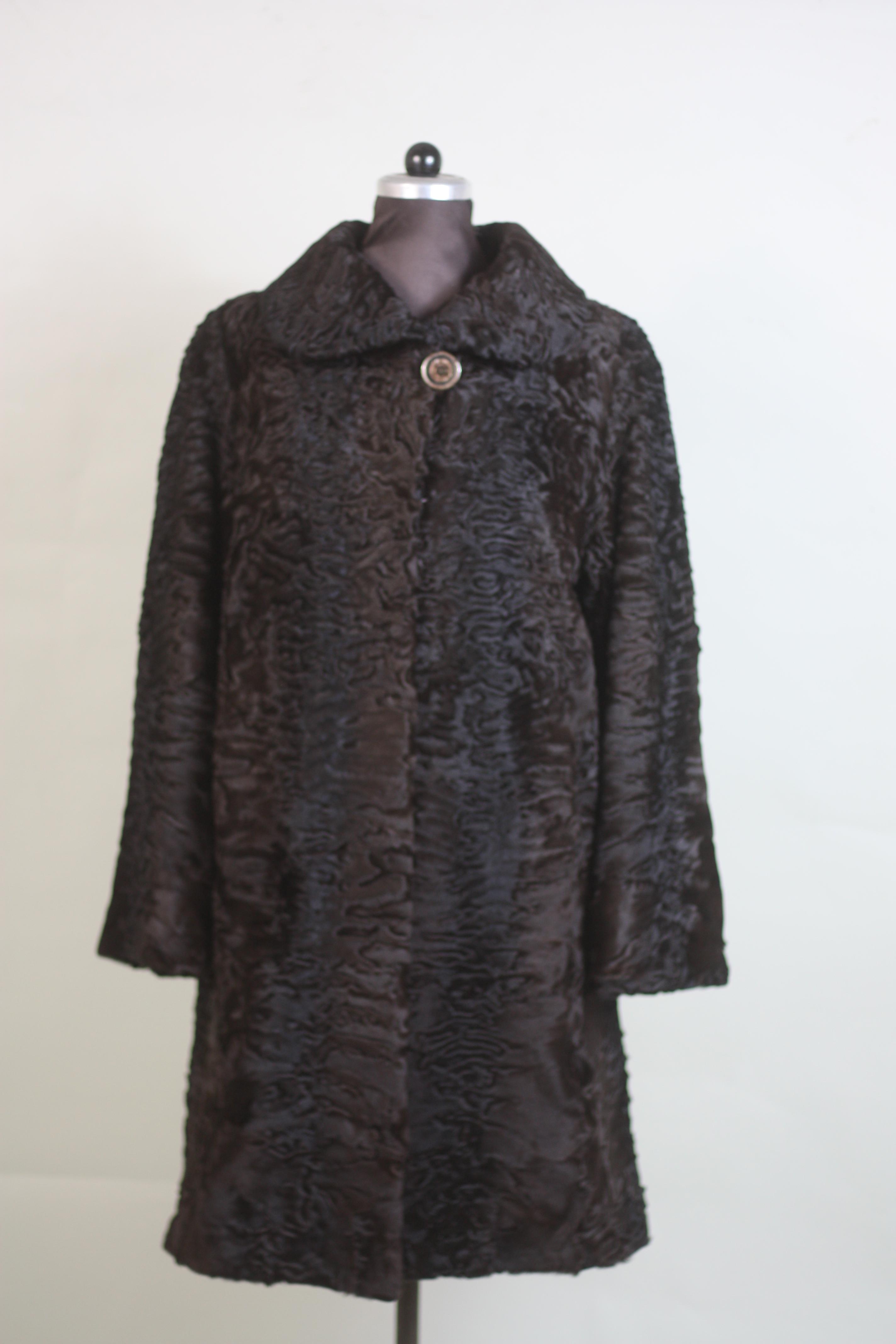 brown swakara lamb fur coat front view 3/4 length