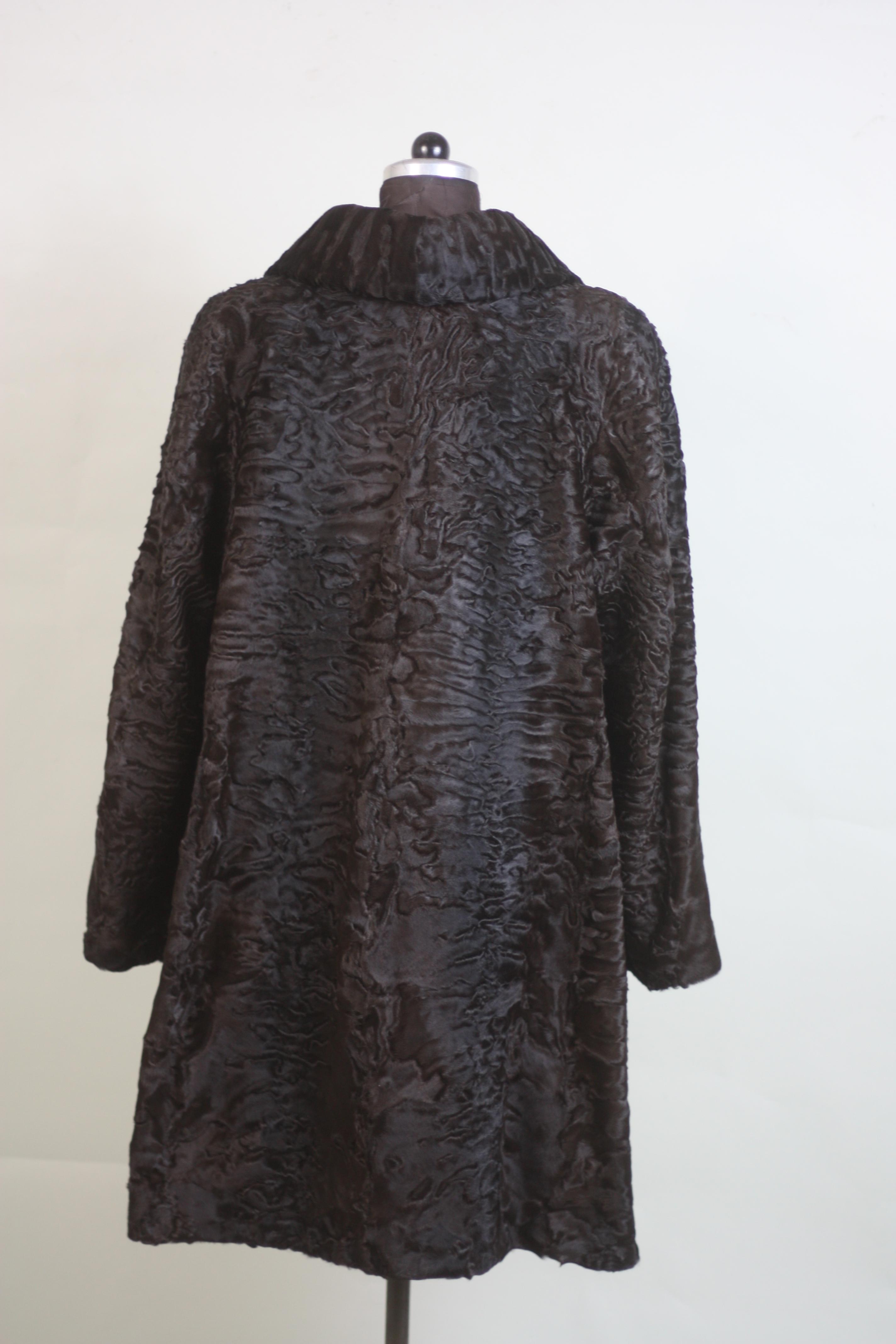 brown swakara lamb fur coat rear view 3/4 length