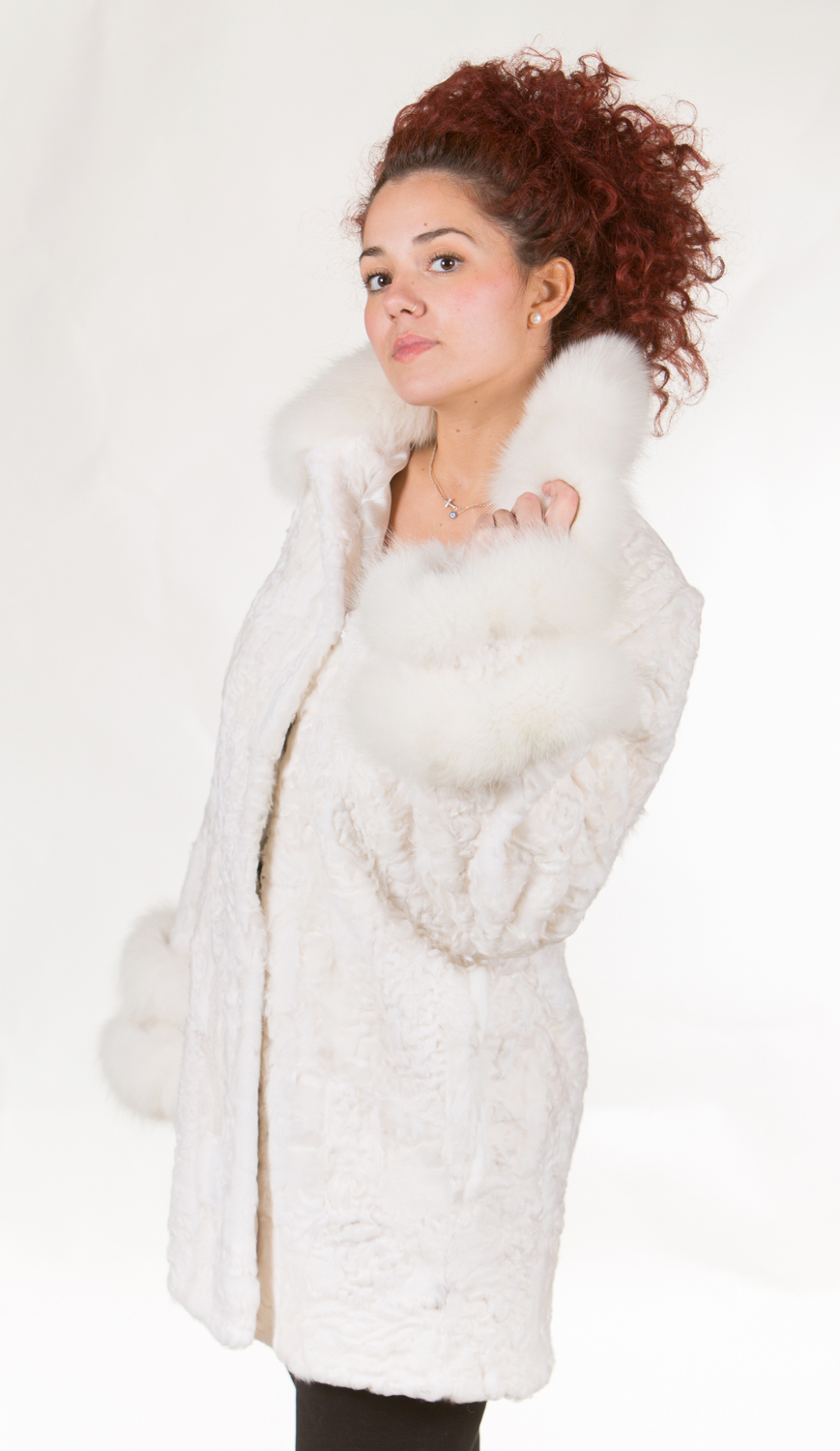 white persian lamb fur coat fox fur collar ad dual fox fur cuffs