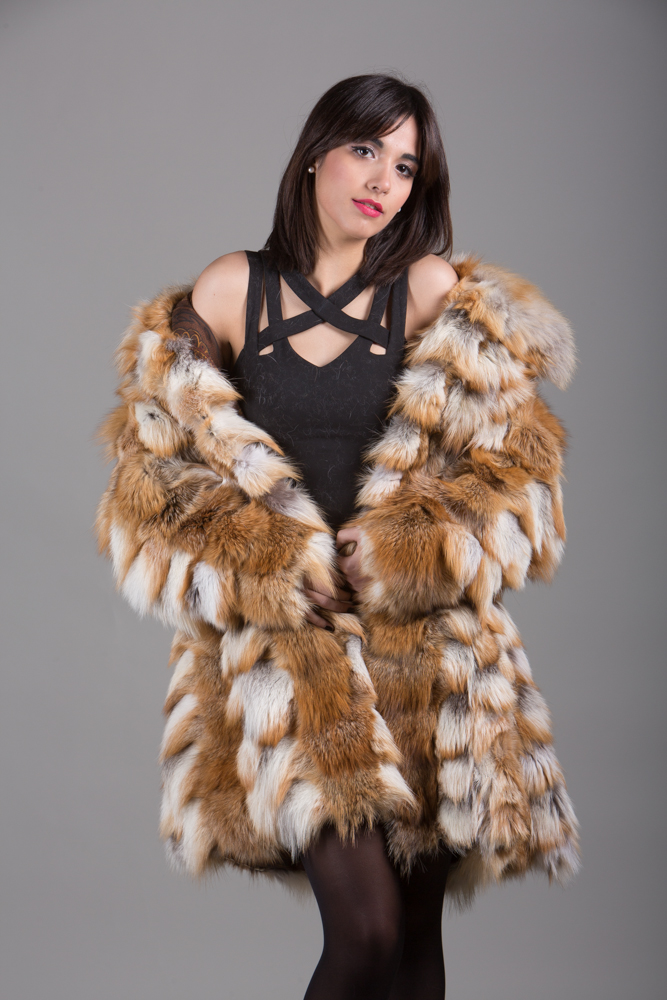 red fox fur coat made of heads