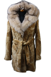 brown sheared beaver fur coat fox hood and belt