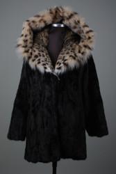 Black Let out Female Skins Mink With Lynx Cobra Hood