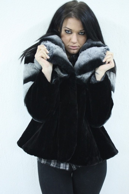 Black Mink fur Jacket Sheared Rex  Rabbit Chinchilla Like Dyed sizes xs to xl