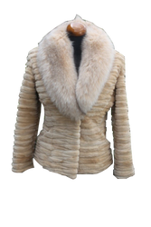 Beaver Fur Jacket Fox Collar Color Beige Size