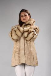 Persian Beige Karakul Astrakhan Fur Coat Wth Fisher Sleeves And Collar