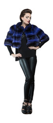 Blue Chinchilla Fur Bolero womens 2/4 sleeves