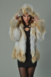 Golden Fox Fur Coat Hooded