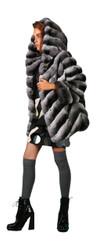 Luxury Chinchilla fur coat  Hooded