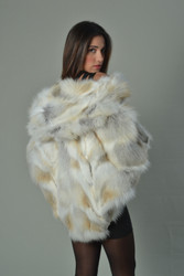 Golden Fox Fur Cape Hooded