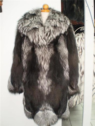 Fox Fur Coat Silver Xs to XXXL