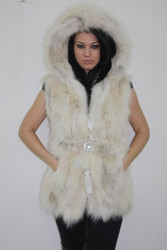 Cream Fox Fur Vest Hooded sizes Xs to XXXL