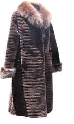 Brown  Beaver Fur Coat Full Length  Xs To XXXL