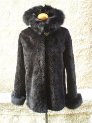 Beaver Fur Coat Sheared Black Hood  xxL