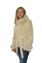 New Sheared Beige Beaver Fur Coat Fox Collar