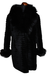 Black sheared beaver fur coat fox collar cuffs