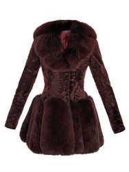 Designer Brown Ashtrakhan & Fox Fur Coat