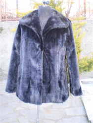 Black Mink Fur Jacket Swarovksi chain