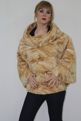 Brown Sheared Mink Fur Cape one size