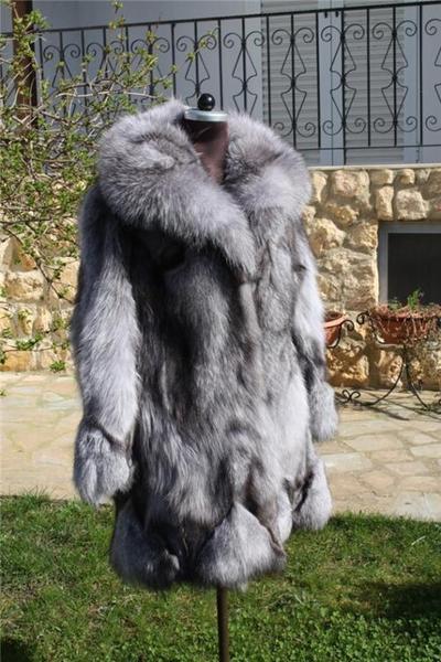 Blue Frost  Fox Fur Coat Xs to XXXL