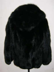 Fox Fur Coat Black  Hood sizes Xs to XXXL