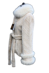 Sheared Beaver Fur Coat Fox Collar and Belt