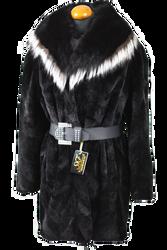 Black Sheared Beaver Fur Coat Leather Belt
