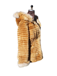 Beaver Fur Coat Sheared Brown Hood Xs to XXXL