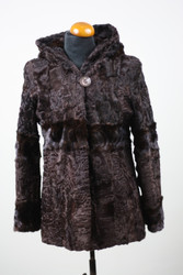 Brown Swakara Lamb & Mink Fur Jacket Hooded