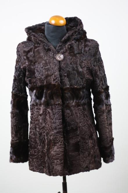 Brown Swakara Lamb & Mink Fur Jacket Hooded