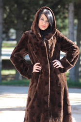 Mink Brown Sheared 3/4 length hooded