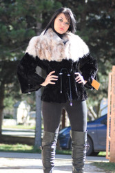 Mink Lynx Fur Jacket Black Sizes