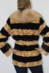 Black & beige Mink Fur Jacket Fox Collar