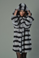 Rex Chinchilla Fur Coat Hooded Mid Hip Length hood on