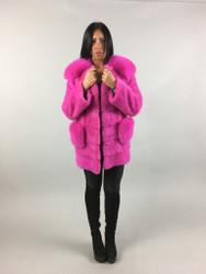 Black Persian Lamb  Fur Coat with Blue Frost Fox Fur Collar