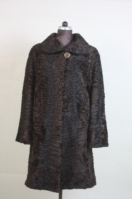 brown swakara lamb fur coat