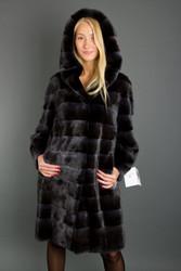SAGA Black Velvet Hooded Mink Fur Coat Custom Order