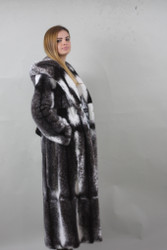 Luxury Blackcross Mink fur coat with hood Full length