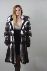 Blackcross Mink fur coat with hood / Knee length