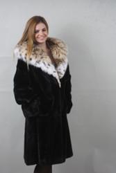 Black Mink fur coat  with lynx hood