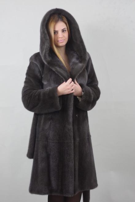 burguzinsky mink fur stroller hooded hood on