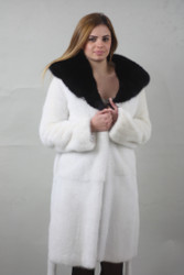 Luxury gift/White and Black Mink fur coat Full Skin /hooded/knee length