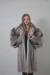 Luxury gift/Saphire Mink fur coat Full Skin with fox sleeves /Wedding,or anniversary present
