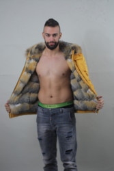 Luxury gift/ Grey fox double face/Yellow/Mens Parka fur