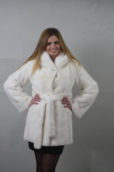 Luxury gift/ Pearl Mink fur coat Full Skin /hooded