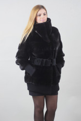 Blacklama Mink fur coat Full Skin Prada style