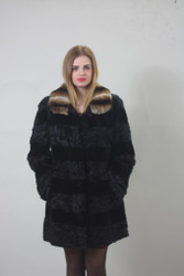 Persian Black Lamb/mink / Brown Rex collar