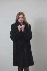 Black Swakara Lamb Fur Coat 3/4 length