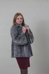 Grey  swakara Lamb Coat