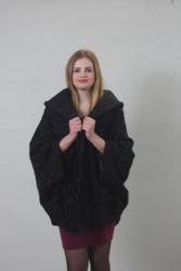 Black  karakul cape/with hood